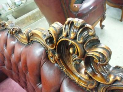 アンティークソファー彫刻修復