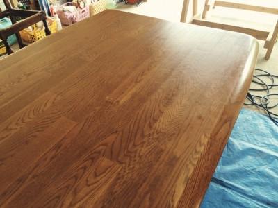 テーブル天板キズ磨き