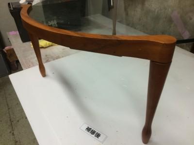 ガラスデザインテーブルの木製フレーム割れリペア